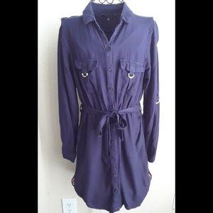 Navy Blue button down tunic with waist wrap sz M